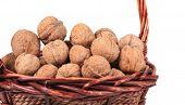 Basket of walnuts. Close up.