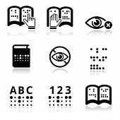 stock photo of braille  - Vector icons set of books with Braille text isolated on white - JPG
