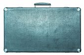 Old Suitcase Of Blue Color On A White Background