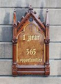 Decorative Wooden Sign - 1 Year, 365 Opportunities