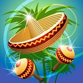 pic of maracas  - vector illustration of mexican carnival hat and maracas - JPG