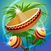 stock photo of maracas  - vector illustration of mexican carnival hat and maracas - JPG