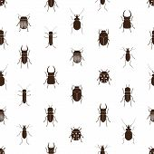 picture of mandible  - bugs and beetles simple seamless pattern eps10 - JPG