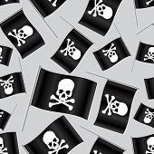Black Pirate Flag With Skull And Bones Pattern Eps10