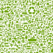 green eco background made of small ecology icons - vector seamless pattern