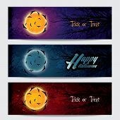 Happy Halloween horizontal banners set