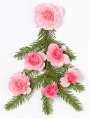 Christmas Tree Decorated With Roses