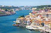 ancient Town of Porto along douro river from dom luiz bridge Portugal