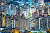 Aerial Hong Kong Residential District Kowloon at night