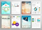 Set of Flyer, Brochure Design Templates. Geometric Triangular Abstract Modern Backgrounds. Mobile Technologies, Applications and Online Services Concept. poster