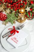 Festive Table Setting Decoration. Dinner Invitation Concept