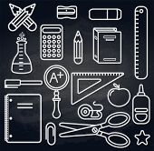 Back to school icons set over chalk board