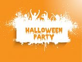 Grunge style Halloween party background with silhouettes of people dancing.