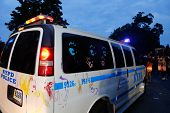 NYPD van with multiple hand prints