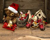 Retro Style Christmas Decoration With Antique Toys