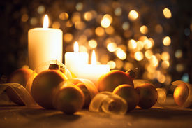 stock photo of ribbon decoration  - Warm Night Christmas decorations  with candles - JPG