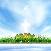 pic of evangelism  - Spring Landscape Easter Eggs And Christian Glowing Cross - JPG
