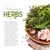 herbs and spices on a wooden plate