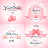 Set Of  Happy Valentines Day Greeting Cards