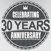Celebrating 30 Years Anniversary Retro Label, Vector Illustration