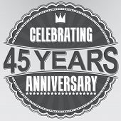 Celebrating 45 Years Anniversary Retro Label, Vector Illustration