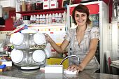 Small Business:  Waitress Selling Candy