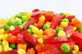 image of frozen food  - Closeup of colorful Frozen Mixed Vegetables - JPG