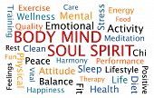 stock photo of soul  - Body Mind Soul Spirit word cloud on white background - JPG