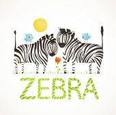 African Zebra Animals and Fun Lettering Cartoon