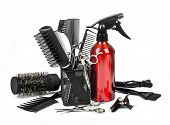foto of bobbies  - Professional hairdresser tools isolated on white background - JPG