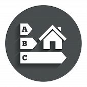 Energy efficiency icon. House building symbol