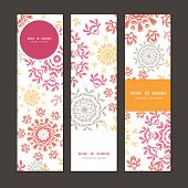 Vector folk floral circles abstract vertical banners set pattern background