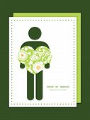 Vector green and golden garden silhouettes man in love silhouette frame pattern invitation greeting