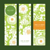 Vector green and golden garden silhouettes vertical banners set pattern background