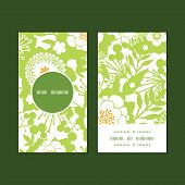 Vector green and golden garden silhouettes vertical round frame pattern business cards set