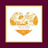 Vector golden art flowers heart symbol frame pattern invitation greeting card template