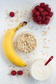 Banana, Raspberries and Yogurt Oatmeal Breakfast Set