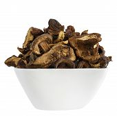 Wild And Dried Mushrooms Placed In A White Dish