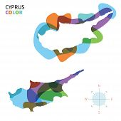 Abstract vector color map of Cyprus with transparent paint effect.