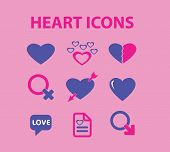 beautiful heart, love, romance, wedding, heart shape, valentines day icons, signs, illustrations set, vector