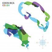 Abstract vector color map of Costa Rica with transparent paint effect.