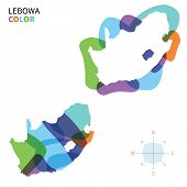 Abstract vector color map of Lebowa with transparent paint effect.