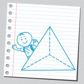 School kid with pyramid symbol