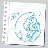School kid siting on moon