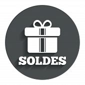 Soldes - Sale in French sign icon. Gift.