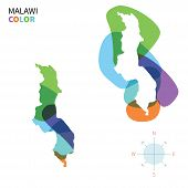 Abstract vector color map of Malawi with transparent paint effect.