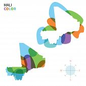 Abstract vector color map of Mali with transparent paint effect.