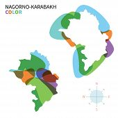 Abstract vector color map of Nagorno-Karabakh with transparent paint effect.