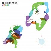 Abstract vector color map of Netherlands with transparent paint effect.