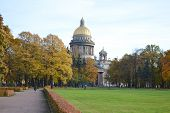 Alexander Garden And St.isaacs Cathedral In Autumn Day